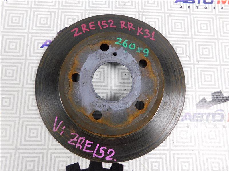 Диск тормозной Toyota Corolla Rumion ZRE152-1108791 2ZR-FE 2009 задний