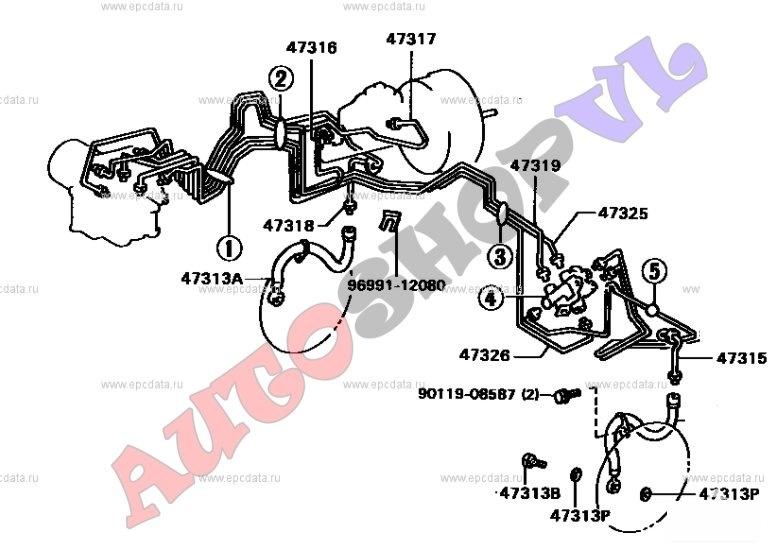 Трубка тормозная Toyota Camry Prominent VZV33 передняя (б/у)