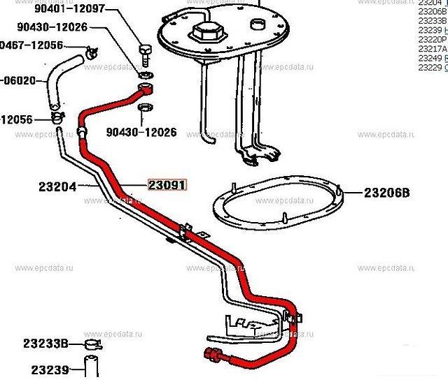 Шланг топливный Toyota Sprinter Trueno AE111 4AGE (б/у)