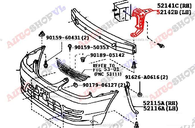 Крепление бампера Toyota Corolla Spacio AE111 4AFE 06.1999г. переднее правое (б/у)
