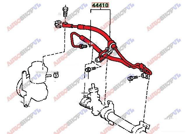 Шланг гидроусилителя Toyota Corolla Spacio AE111 4AFE 06.1999г. (б/у)