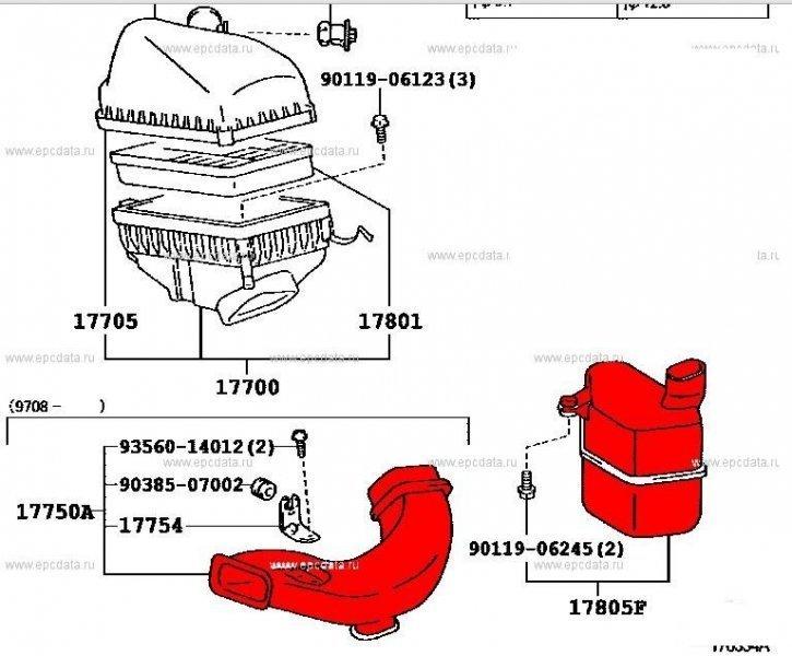 Воздуховод Toyota Mark Ii Qualis SXV20 5SFE 03.2000 (б/у)
