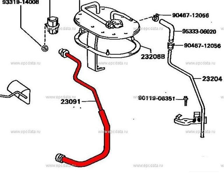 Шланг топливный Toyota Vista SV30 (б/у)