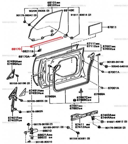 Молдинг на дверь Toyota Vista SV30 передний левый (б/у)