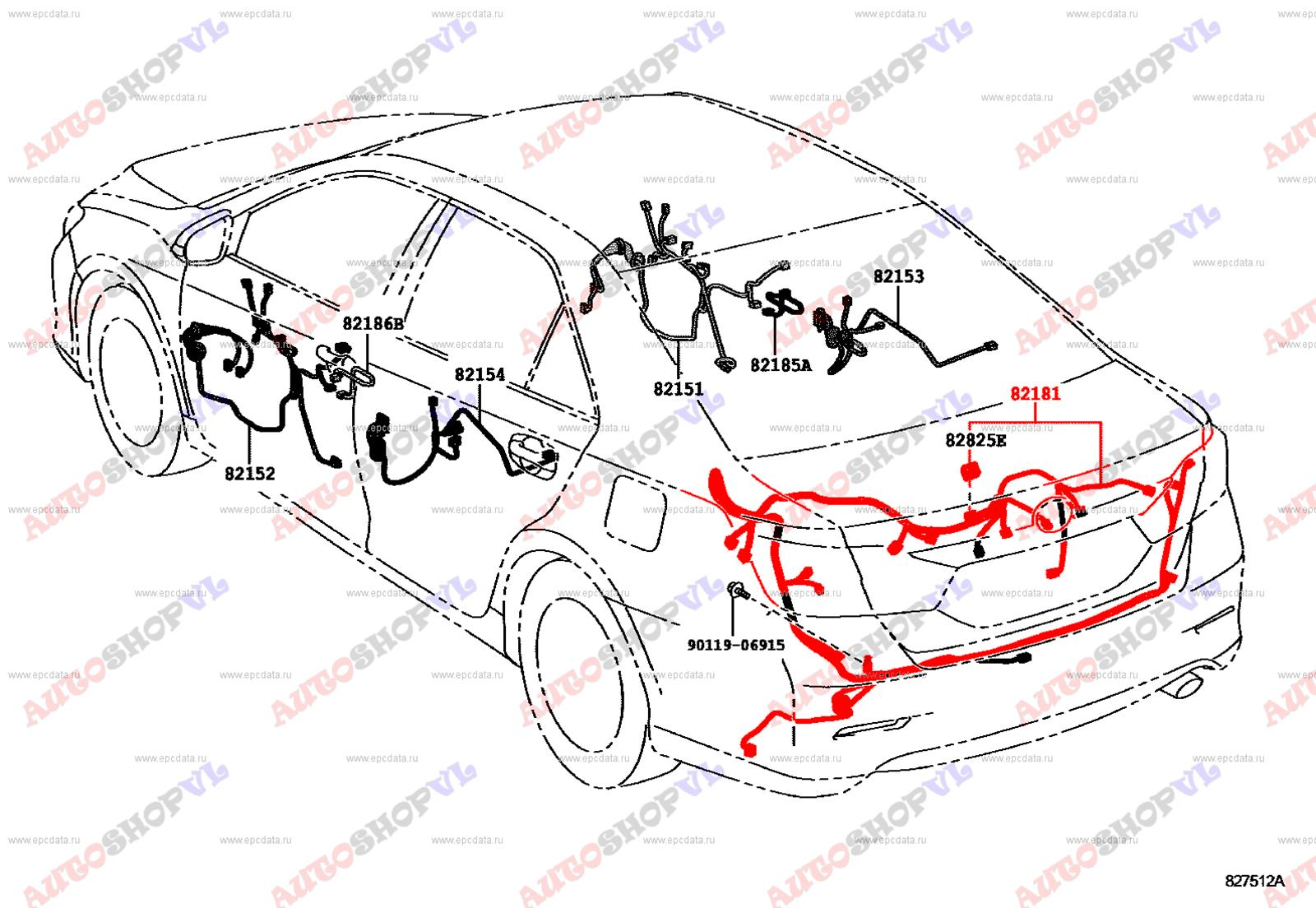 Проводка багажника Toyota Camry AVV50 2ARFXE 12.2011 (б/у)