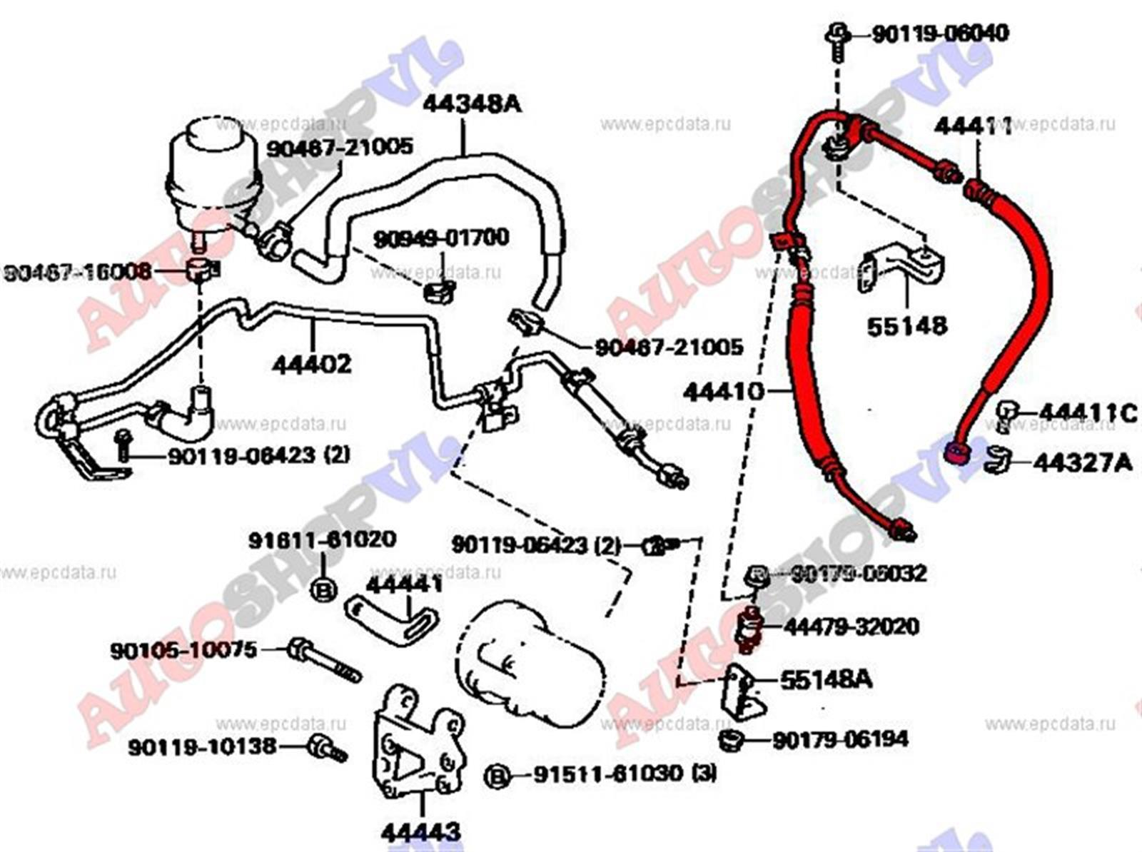 Шланг гидроусилителя Toyota Vista SV30 4SFE (б/у)