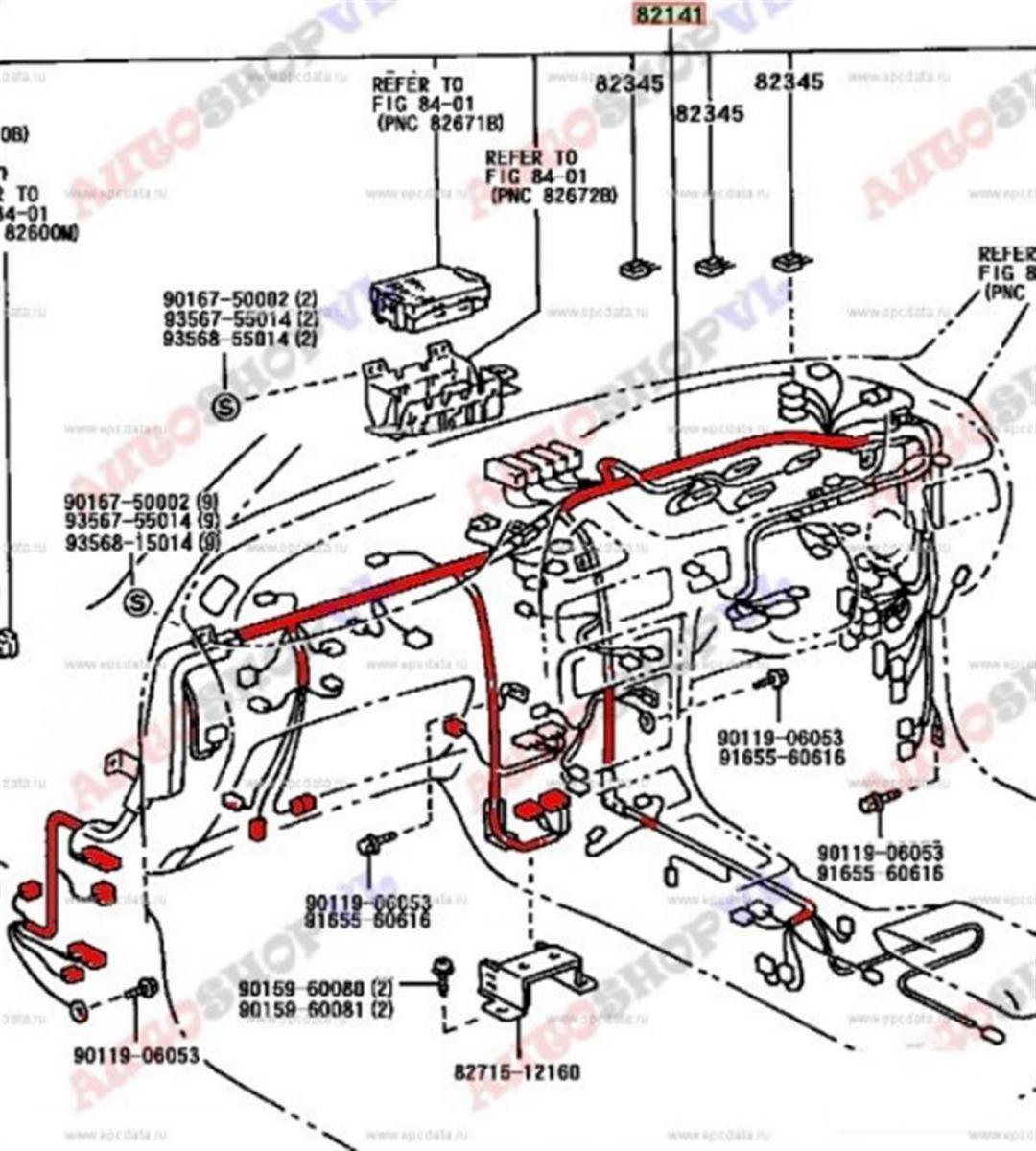Проводка под торпеду Toyota Corolla Levin AE101 4AGE 05.1993 (б/у)