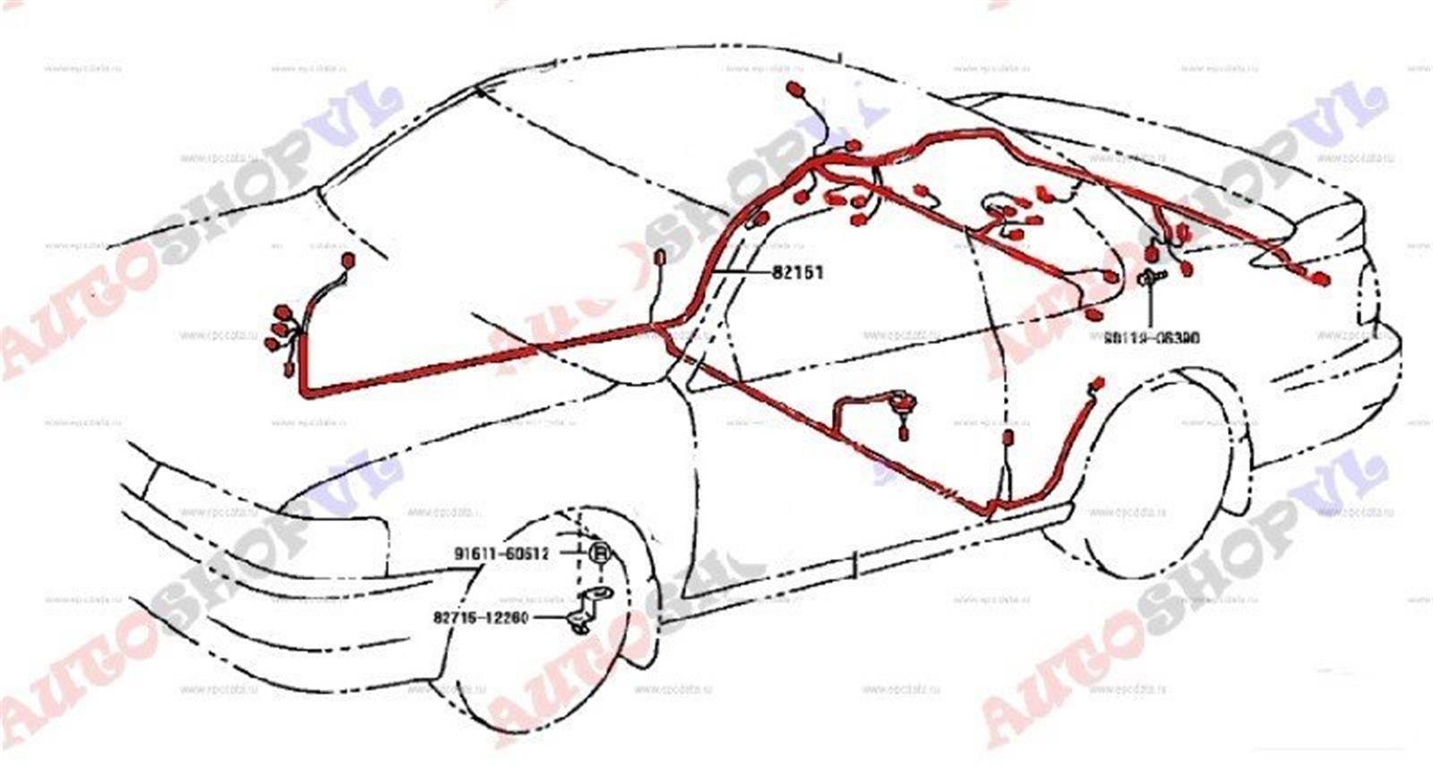 Электропроводка салона Toyota Corolla Levin AE101 4AGE 05.1992 (б/у)