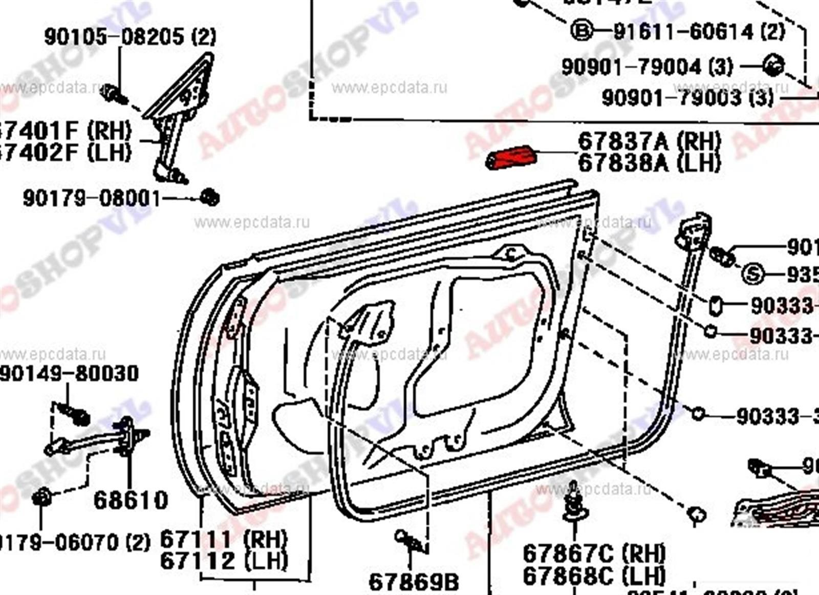 Уплотнительная резинка Toyota Sprinter Marino AE101 передняя левая (б/у)