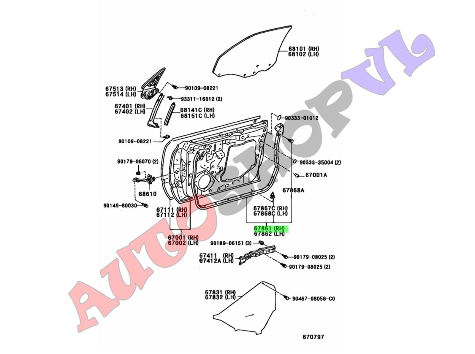 Уплотнение дверное Toyota Vista SV40 переднее правое (б/у)