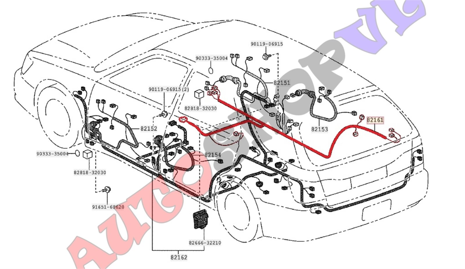 Электропроводка салона Toyota Vista Ardeo ZZV50 1ZZFE 06.1998 правая (б/у)