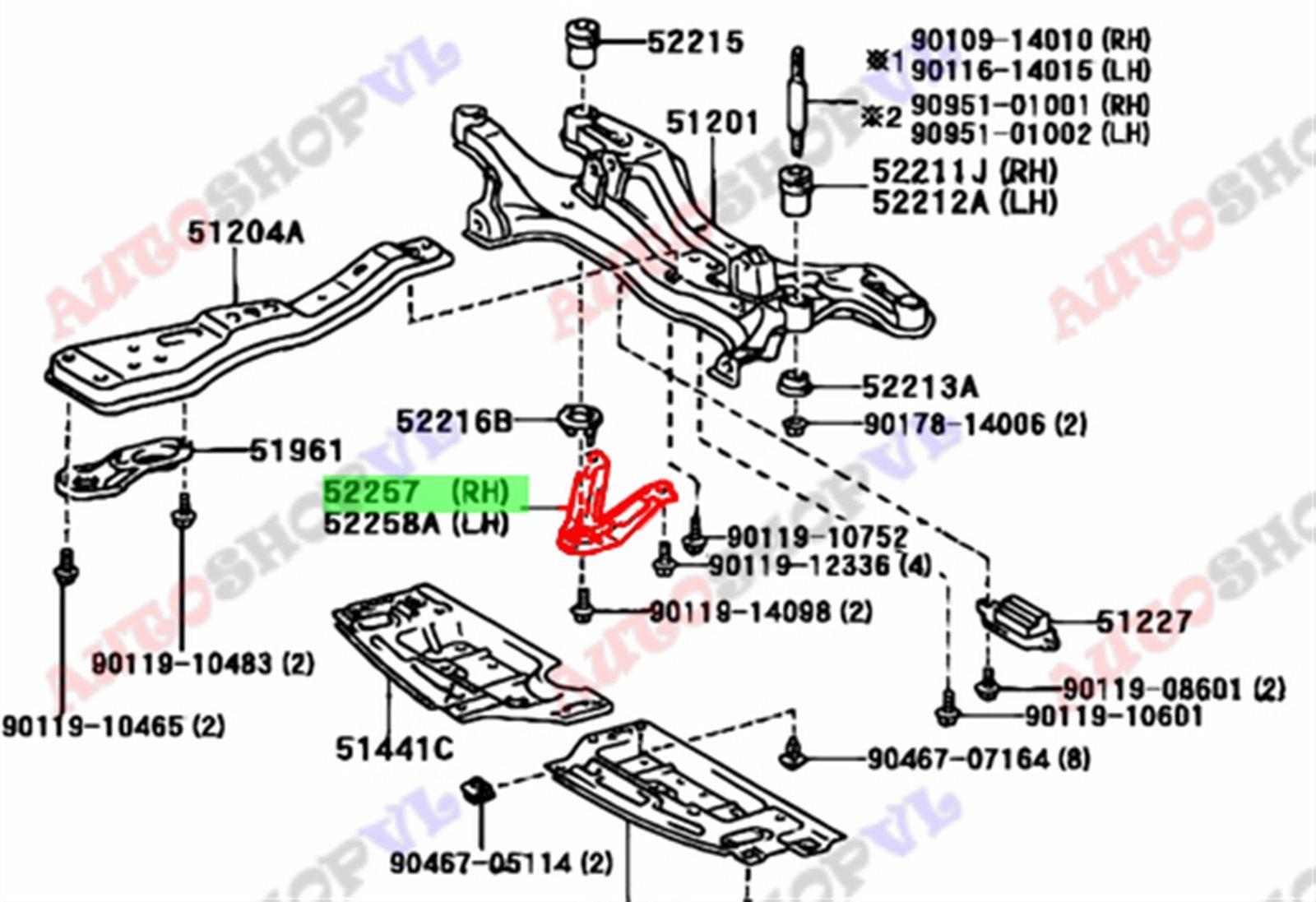 Крепление балки подвески Toyota Vista Ardeo AZV50 переднее (б/у)
