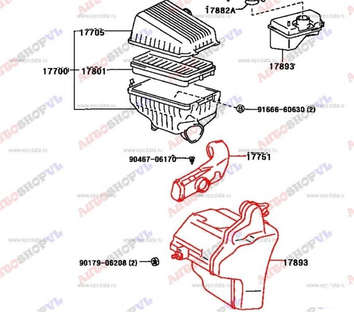 Воздуховод Toyota Camry SV40 4SFE (б/у)