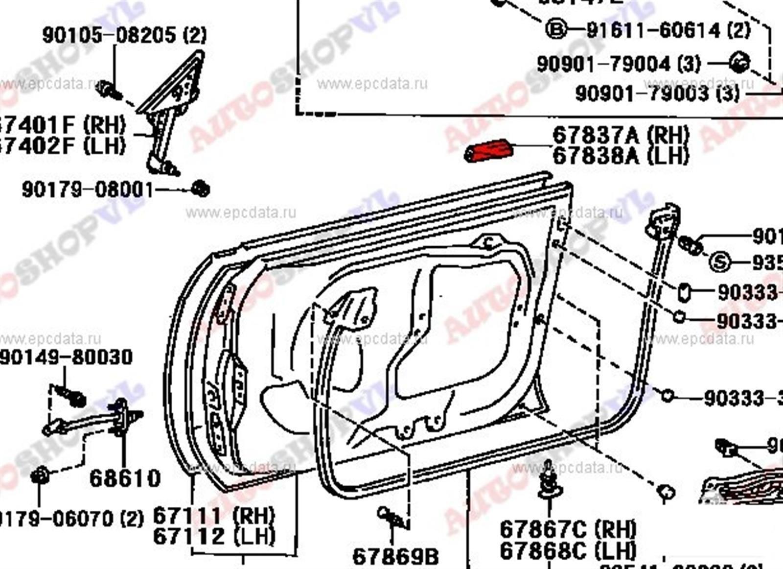 Уплотнительная резинка Toyota Sprinter Marino AE101 передняя правая (б/у)