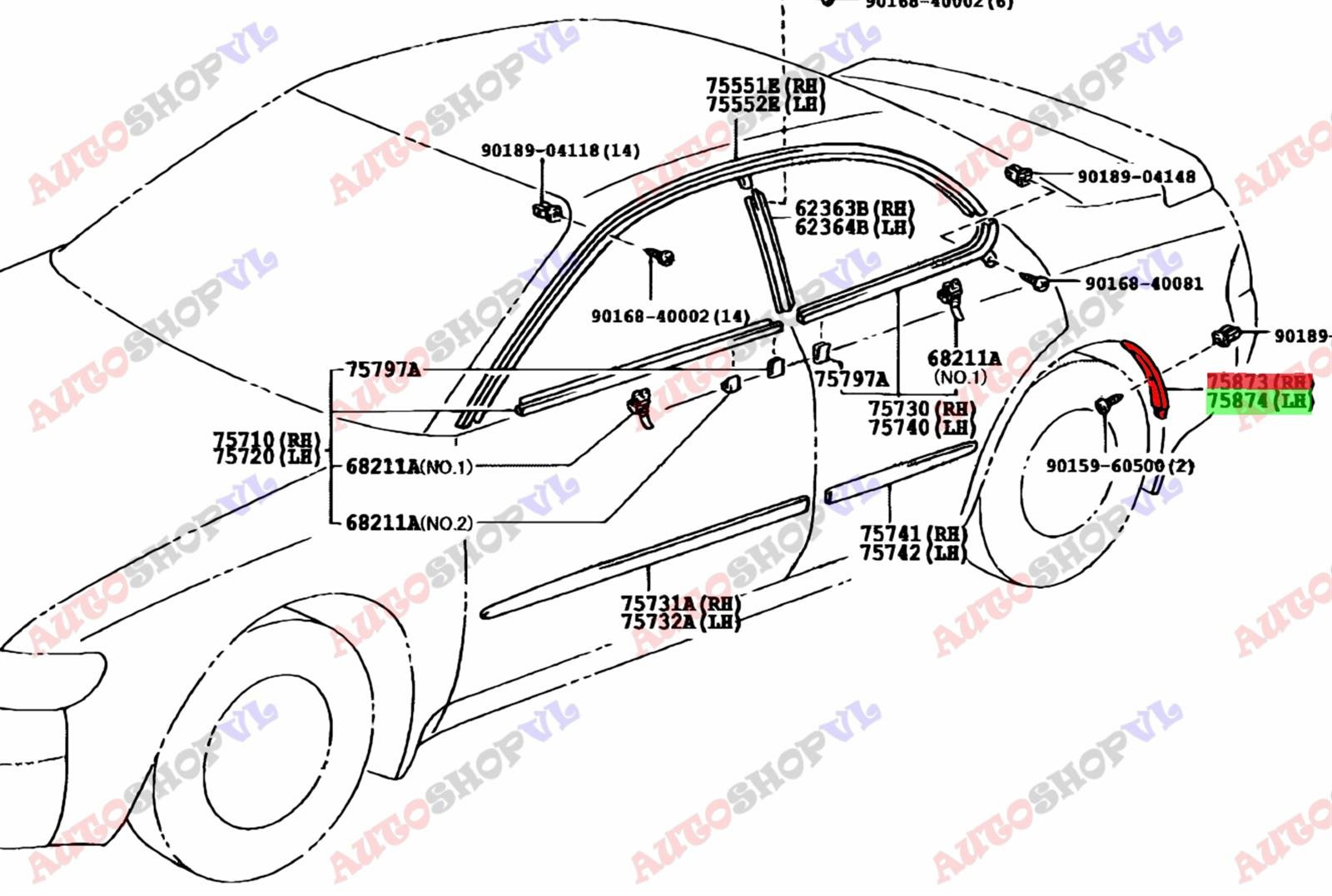 Молдинг на крыло Toyota Sprinter Marino AE101 задний (б/у)