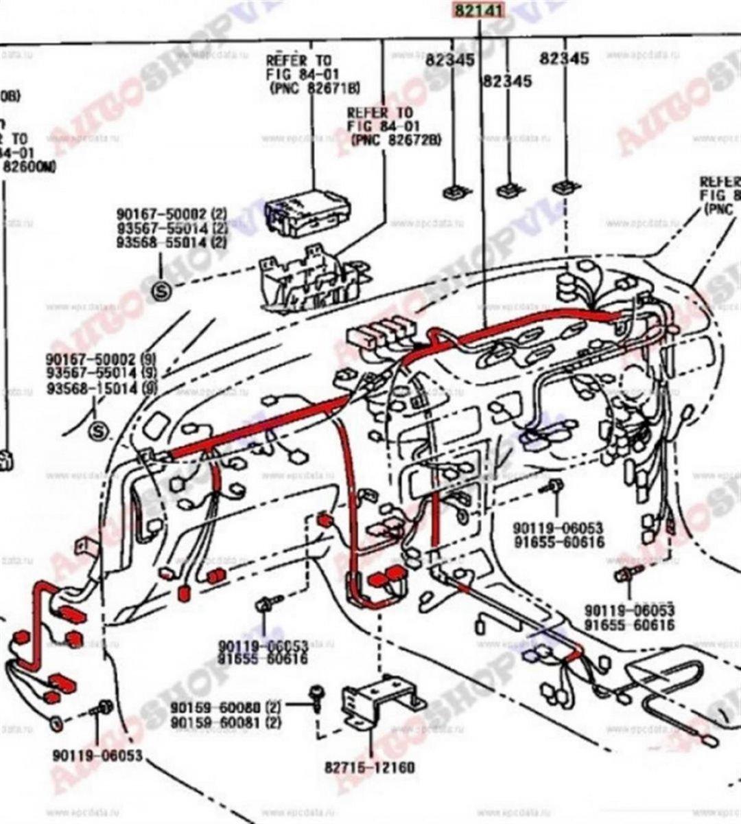 Проводка под торпеду Toyota Sprinter Marino AE101 4AFE 05.1994 (б/у)