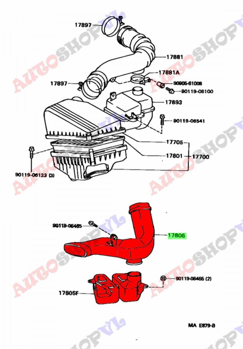 Воздуховод Toyota Scepter SXV15W 5SFE 10.1995 (б/у)