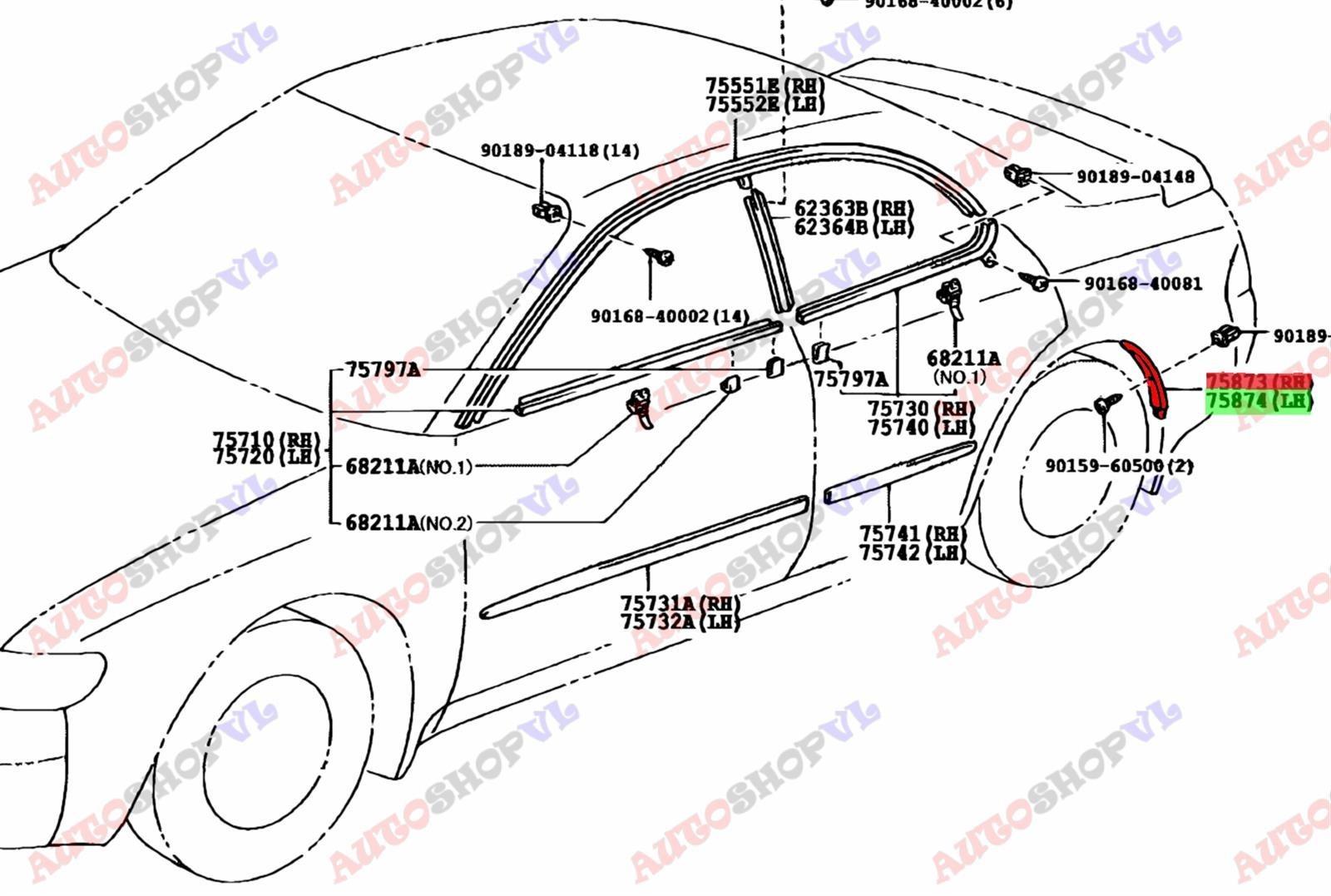 Молдинг на крыло Toyota Corolla Ceres AE101 задний (б/у)