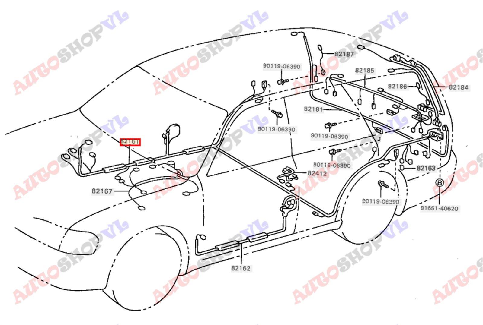 Электропроводка салона Toyota Scepter SXV15W 08.1994 правая (б/у)