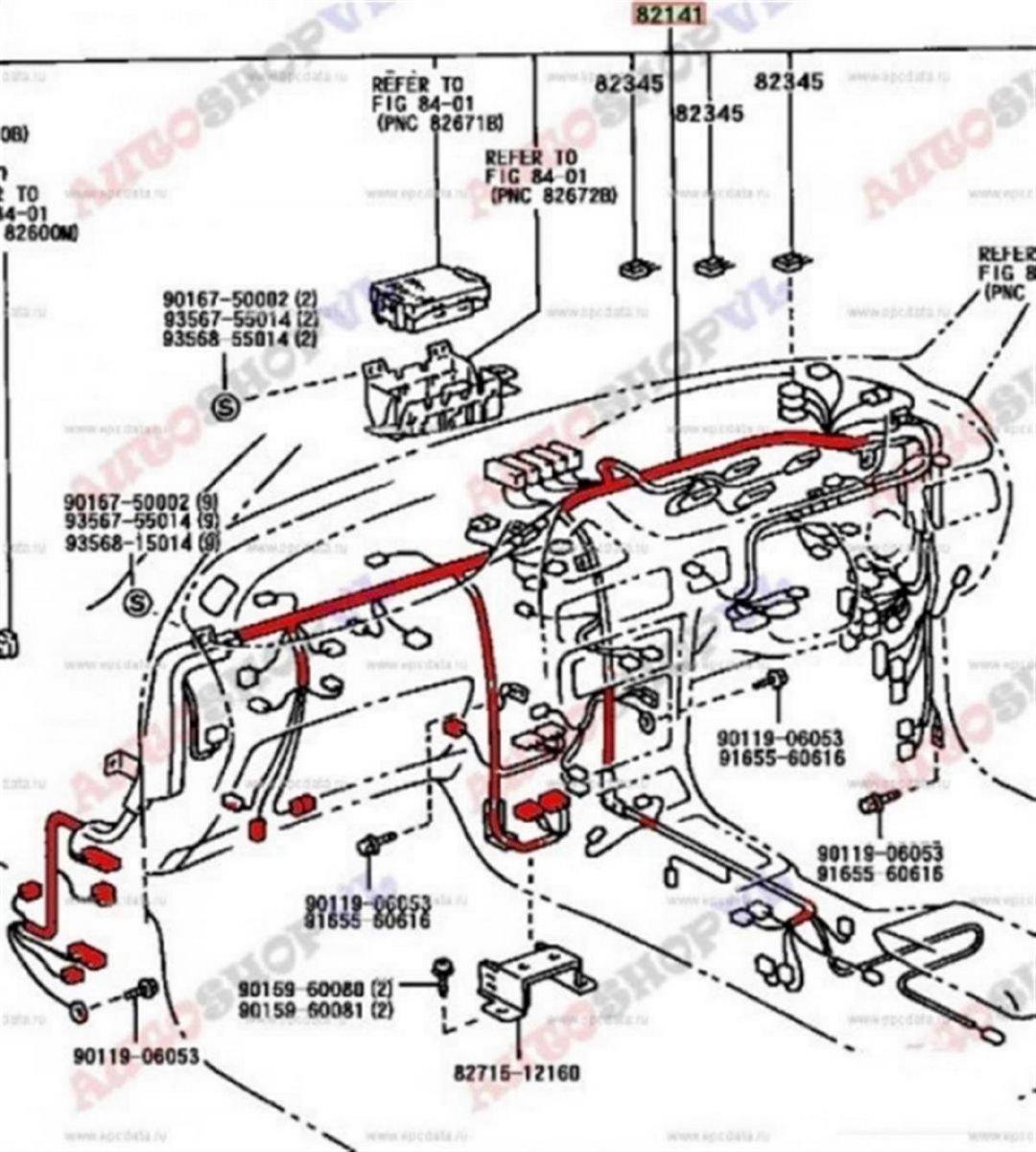 Проводка под торпеду Toyota Corolla Ceres AE101 4AFE 05.1992 (б/у)