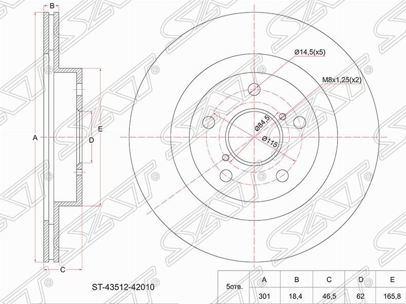 ДИСК ТОРМОЗНОЙ  F TOYOTA RAV4 SXA1# 94-00 ST-43512-42010 Тайвань