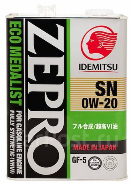 Масло моторное - 4 литра Масла И Технологические Жидкости Idemitsu Zepro Eco Medalist 0W20 Sn/gf-5