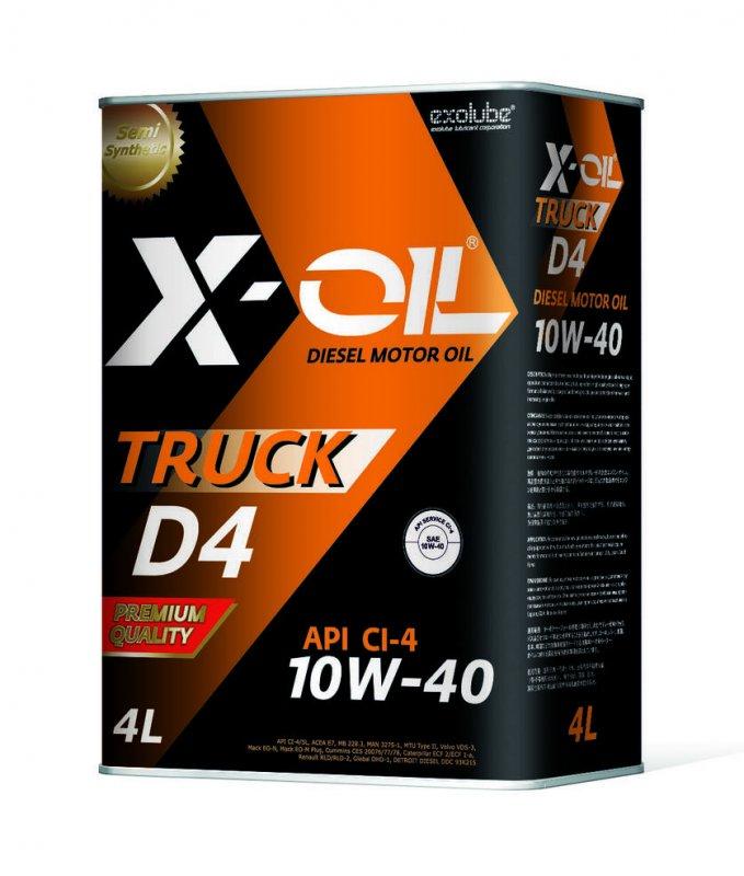 Масло моторное - 4 литра Масла И Технологические Жидкости X-Oil Truck D4 10W40 Cf-4