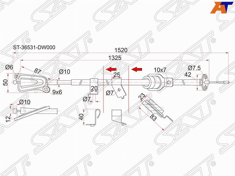 ТРОС РУЧНИКА LH NS Wingroad Y11, QG13 / 15 / 18, 99- 2WD, Van -  (-Antiskid) ST-36531-WD000 Тайвань