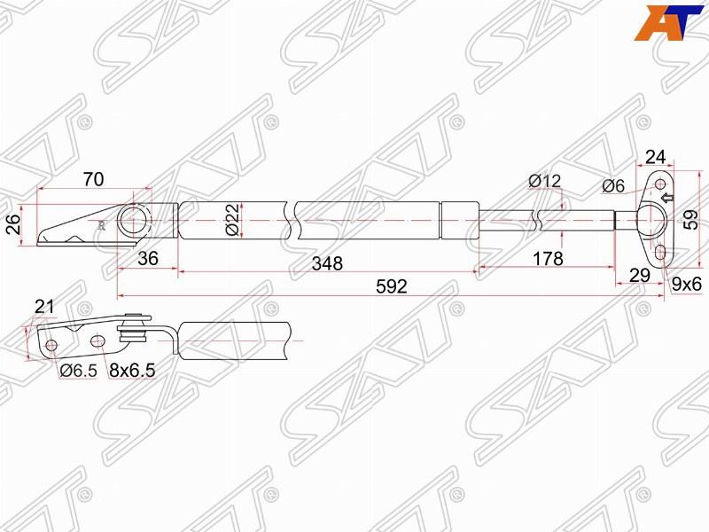 АМОРТИЗАТОР ЗАДНЕЙ ДВЕРИ R TOYOTA COROLLA  #E10# универсал ST-68950-19795 Тайвань