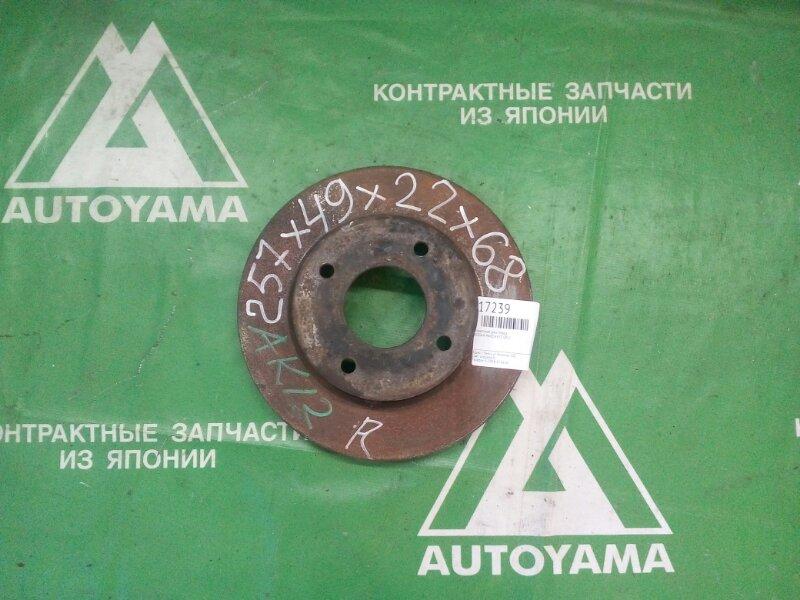 Тормозной диск Nissan March K12 CR12 передний (б/у)