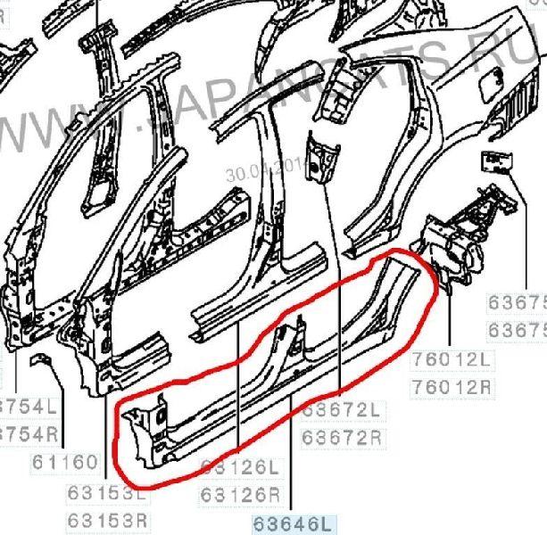 Кузов по частям Mitsubishi Galant DJ1A 4G69 2003 левый 5253B971