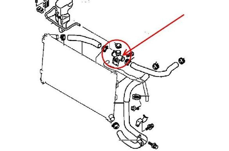 Тройник горловина радиатора охлаждения Mitsubishi Lancer 10 CY1A 4A91 2007 1350A043