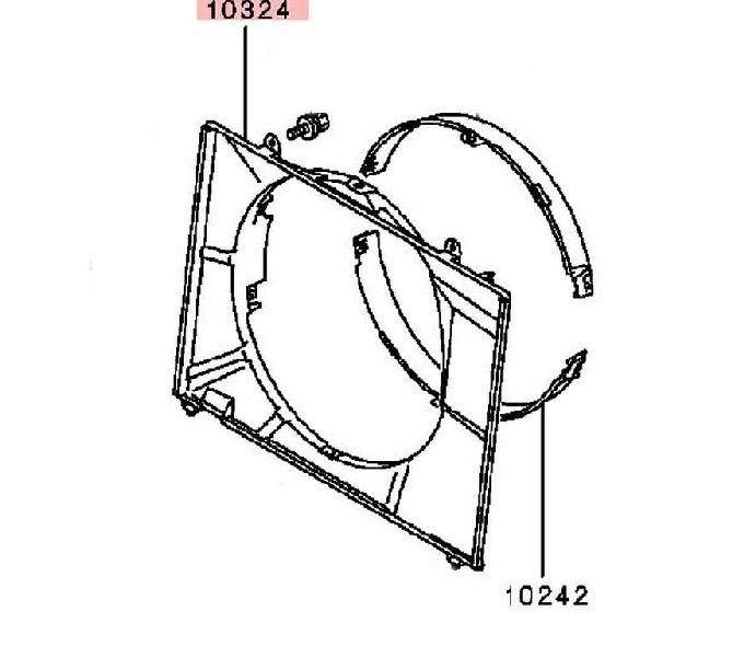 Диффузор радиатора двигателя Mitsubishi Pajero 3 V64W 4D56 2000 MR497044
