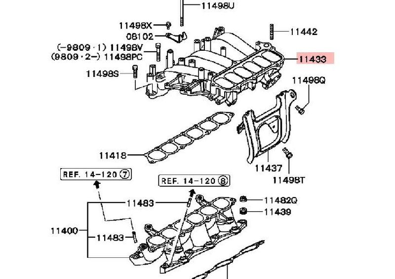 Коллектор впускной Mitsubishi Pajero Sport 1 K97W 4D56 1998 (б/у) MD349931
