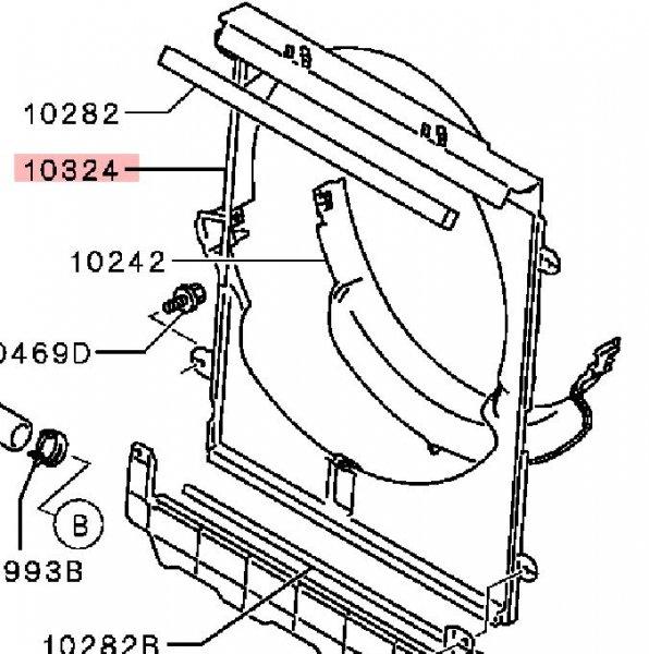Диффузор радиатора двигателя Mitsubishi Pajero Sport 2 KH4W 4D56 2008 2009 2010 2011 2012 2013 2014 2015 MN135055