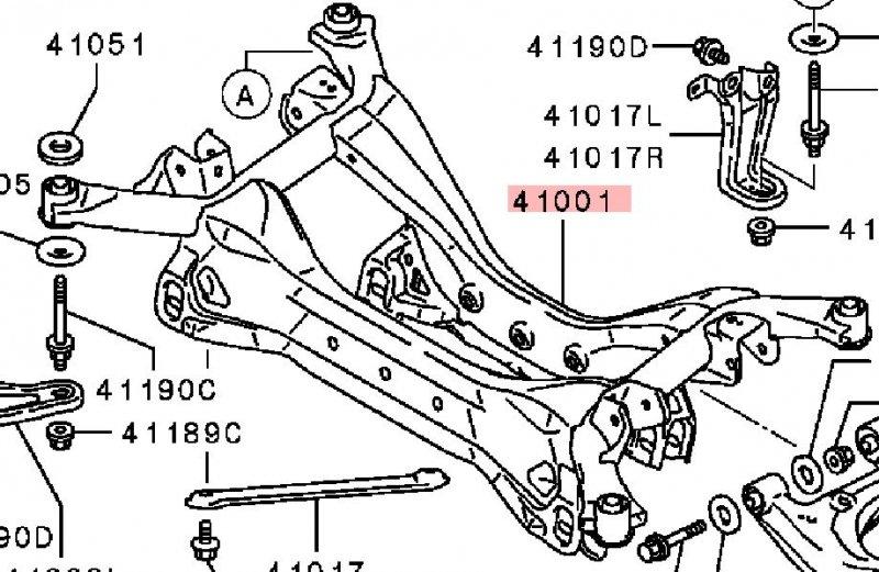 Подрамник Mitsubishi Galant DJ1A 4G69 2004 2005 2006 2007 2008 задний (б/у) 4100A050