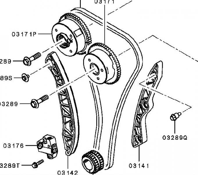 Цепь газораспределения Mitsubishi Lancer 10 CY1A 4A91 2007 1140A073