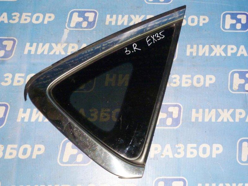 Стекло кузовное глухое Infiniti Ex 35 J50 3.5 (VQ35) 2008 заднее правое (б/у)