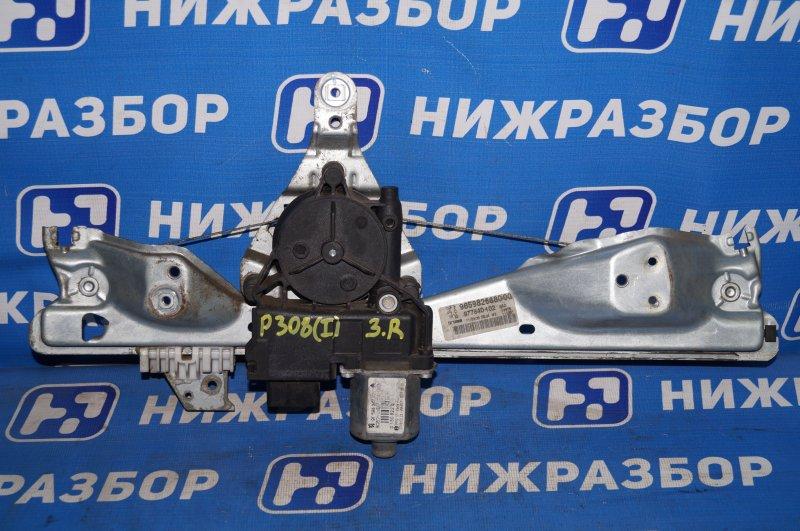 Стеклоподъемник эл. Peugeot 308 2007 задний правый (б/у)