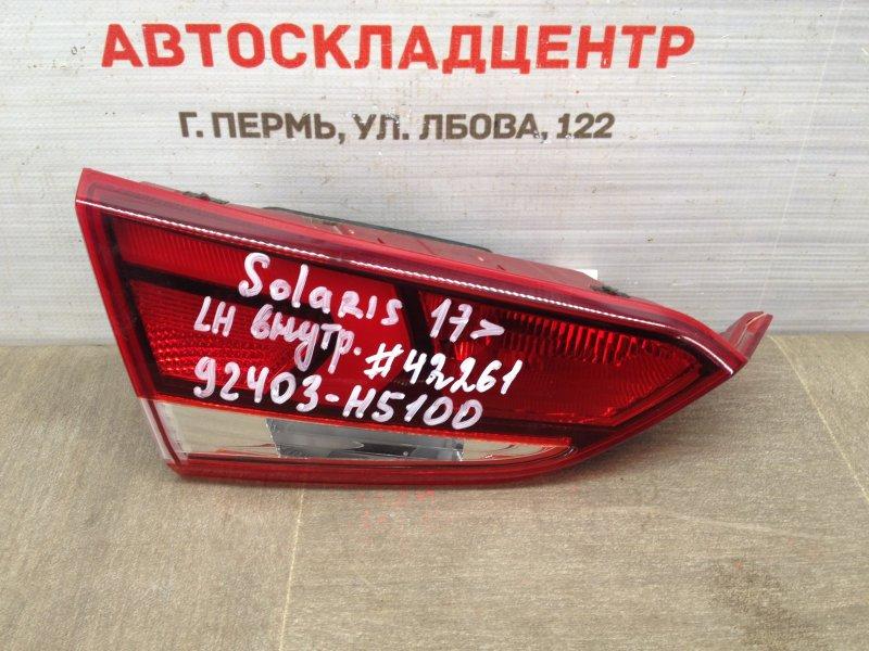 Фонарь левый - вставка в дверь / крышку багажника Hyundai Solaris (2017-Н.в.)